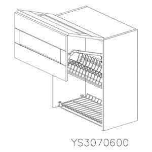 YS3070600 Suspendat cu Scurgator de Vase Inox 2 Usi Orizontale si 1 Sistem cu Amortizare Aventos HF Blum deschis