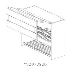 YS3070900 Suspendat cu Scurgator de Vase Inox 2 Usi Orizontale si 1 Sistem cu Amortizare Aventos HF Blum deschis