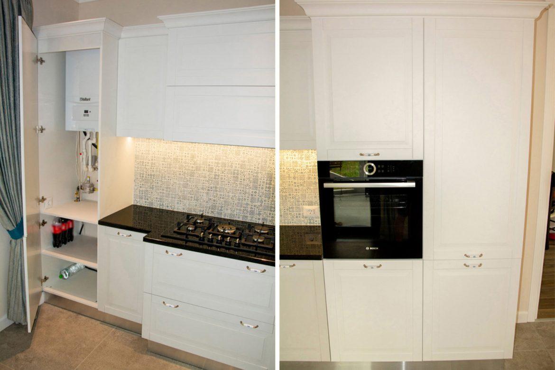 bucatarie moderna cu frezare rustica cu cornisa