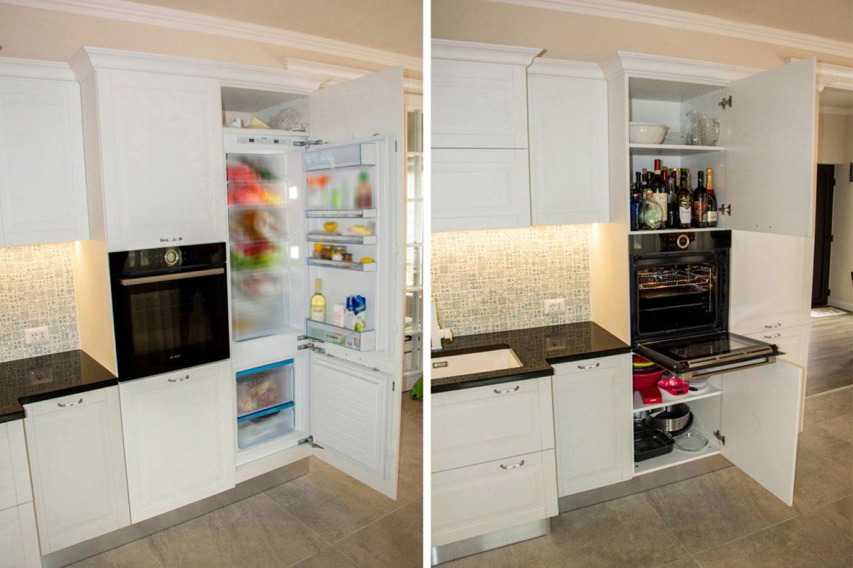 detali interior frigider incastrabil cu cuptor negru