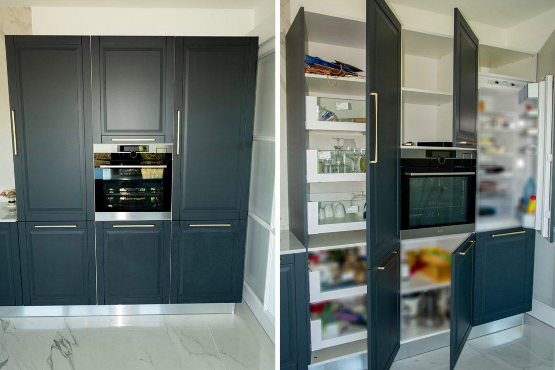 bucatarie moderna din mdf vopsit gri deschis cu cuptor