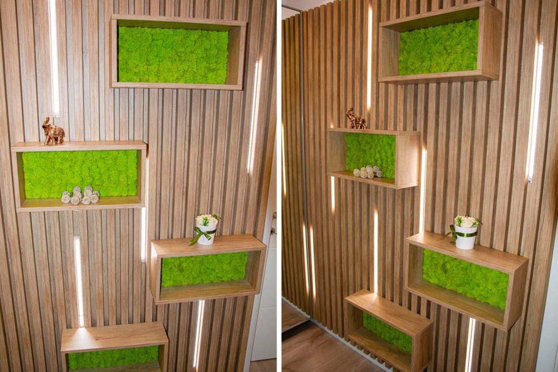 perete decorativ din stejar nebraska cu lichieni