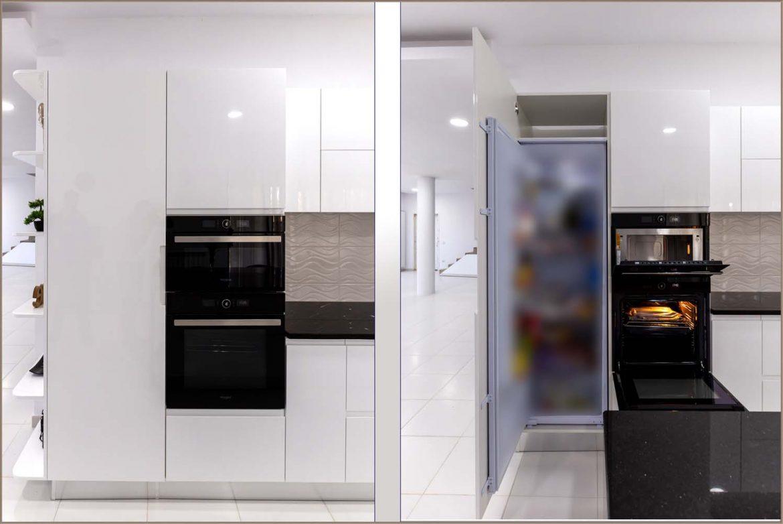 detali mobilier la comanda cuptor plus cuptor microunde plus frigider incorporabil cu usi din mdf vopsit ral 9003